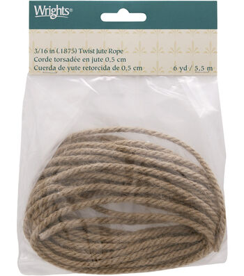 """Wrights 3/16"""" Twist Jute Rope 6 Yds-Natural"""