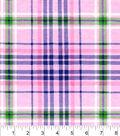 Snuggle Flannel Fabric 42\u0022-Pink Green Plaid
