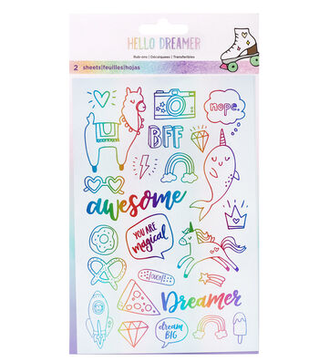 American Crafts Hello Dreamer 2 pk Rub-on Sheets