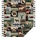 Fleece No Sew Throw-Cabin Patchwork