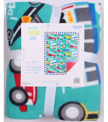 "No Sew Fleece Throw 48""-Cars And Trucks"