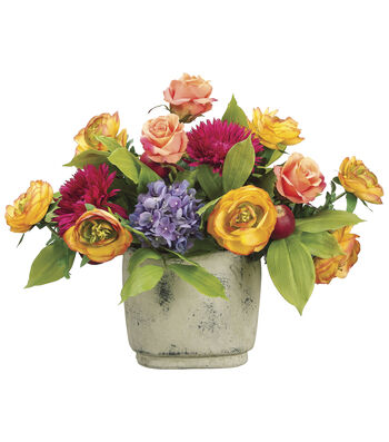 Bloom Room Luxe 17'' Ranunculus, Rose & Daisy In Terra Cotta Pot-Orange