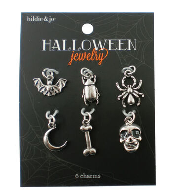 hildie & jo Halloween 6 Pack 1.25''x1.25'' Silver Charms