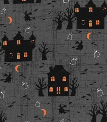 Halloween Cotton Fabric-Midnight Haunted Houses