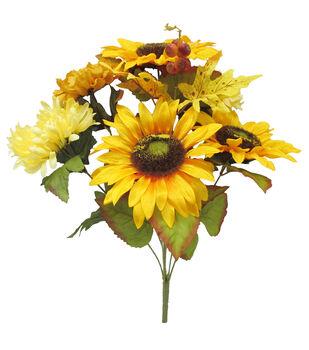 Blooming Autumn 19'' Yellow Sunflower, Mum & Berry Mixed Bush