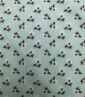 Stretch Chiffon Fabric 57''-Ditsy Blooms on Green