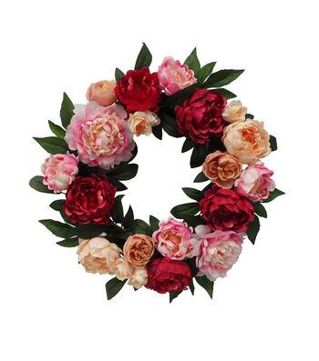 Fresh Picked Spring 24'' Peony Wreath-Fuchsia & Pink