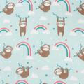 Blizzard Fleece Fabric-Rainbows & Sloth