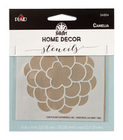 FolkArt Home Decor 4''x4'' Laser Cut Stencil-Camelia, , hi-res