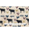 Novelty Cotton Fabric -Rustic Country Animals