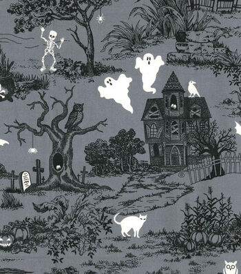 "Halloween Cotton Fabric 44""-Glow In The Dark Haunted House"