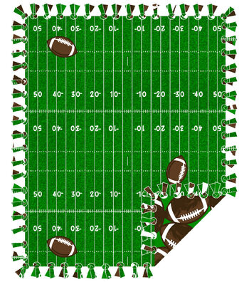 "Fleece No Sew Throw 48""-Football Field"