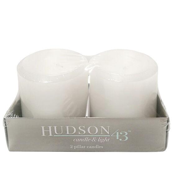 Hudson 43 2 pk 3''x3'' Linen Scented Smooth Pillar Candles White, , hi-res, image 1