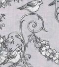 Keepsake Calico Cotton Fabric-Pretty Birds On Gray