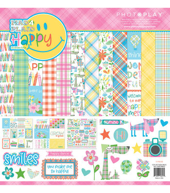 Photoplay Paper Mad 4 Plaid Happy 12''x12'' Collection Pack