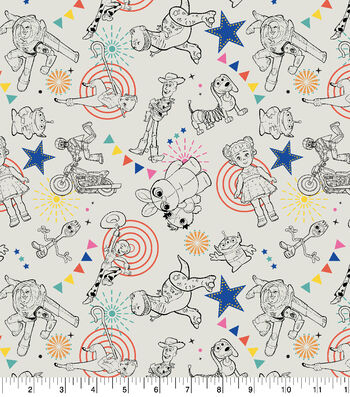 Disney Toy Story 4 Cotton Fabric-Character Toss
