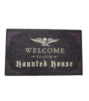 Maker's Halloween Rubber Door Mat-Welcome to Our Haunted House