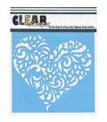Clear Scraps 6\u0027\u0027x6\u0027\u0027 Plastic Stencil-Swirl Heart
