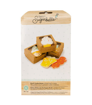 Sweet Sugarbelle 4 pk Cookie Boxes-Kraft with Gold Dots