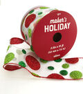 Maker\u0027s Holiday Christmas Sheer Ribbon 2.5\u0027\u0027x25\u0027-Glitter Dots