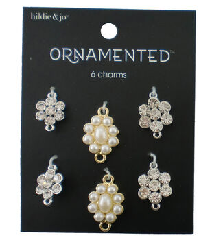 hildie & jo 6 Pack Silver & Gold Charms-Pearl & Crystal Clusters
