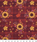 Harvest Cotton Fabric-Sunflowers On Plaid