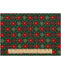 Keepsake Calico Holiday Cotton Fabric 43\u0022-Flowers And Flakes Metallic