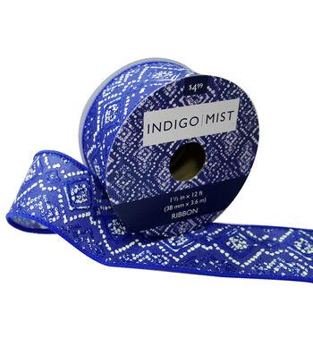 Indigo Mist Ribbon 1.5''x12'-Blue Diamonds