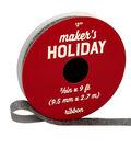 Maker\u0027s Holiday Christmas Holiday Charm Glitter Ribbon 3/8\u0027\u0027x9\u0027-Pewter