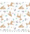 Nursery Cotton Fabric-Deer White Tossed