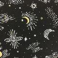 Doodles Cotton Spandex Interlock Fabric-Black Gold Glitter Space Galaxy