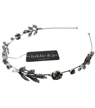 hildie & jo Flowers & Leaves Antique Silver Headband