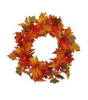 Blooming Autumn Berry & Leaf Wreath-Orange