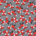 Blizzard Fleece Fabric-Fox Tossed On Gray