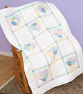 Jack Dempsey Stamped White Lap Quilt Top Patchwork Hearts