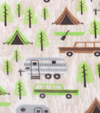 """Anti-Pill Fleece Fabric 59""""-Camping And Pines"""