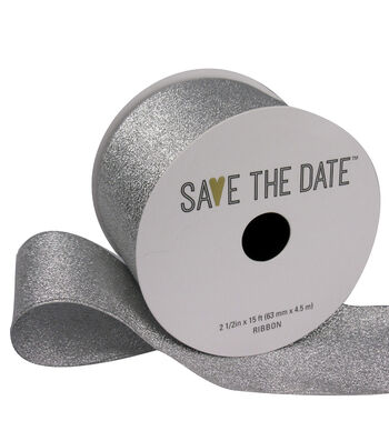 "Save the Date 2.5"" x 15ft Ribbon-Silver Metallic"