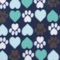 Blizzard Fleece Fabric-I Heart Paws