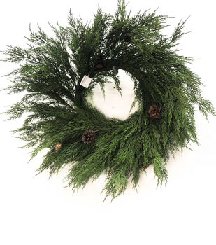 Handmade Holiday Christmas 27'' Cypress & Pinecone Wreath