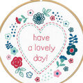 Vervaco 8\u0027\u0027 Round Stamped Embroidery Kit-Modern Flowers & Lovely Day