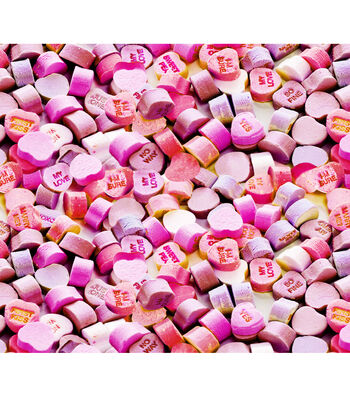 Valentine's Day Cotton Fabric-Photoreal Pink Candy Hearts