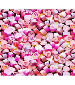 Valentine's Day Cotton Fabric-Photoreal Pink Heart Candies