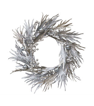 Handmade Holiday Christmas 24'' Adorn Stag Wreath-Silver & Gold