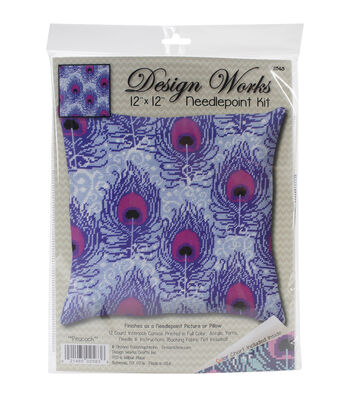 "Design Works Neeedlepoint Kit 12""X12""-Peacock-Stitched In Yarn"