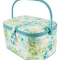 Extra Large Oval Sewing Basket-Cream & Teal Leaf Vines