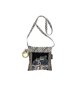 Laurel Burch Crossbody Tote with Zipper Top-Spotted Cats