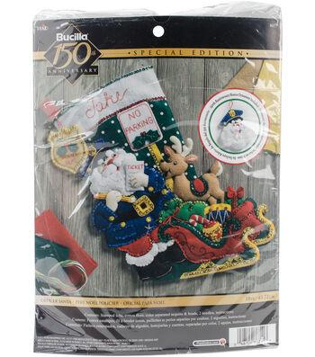 Bucilia Stocking Felt Applique Kit-Officer Santa