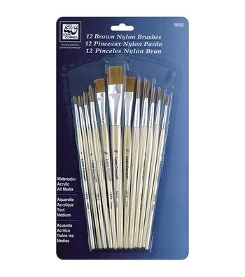 Loew-Cornell Short Handle Nylon Brush Set 12Pk-Brown