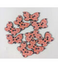 Organic Elements Wood Buttons 1.25\u0022-Peachy Butterfly