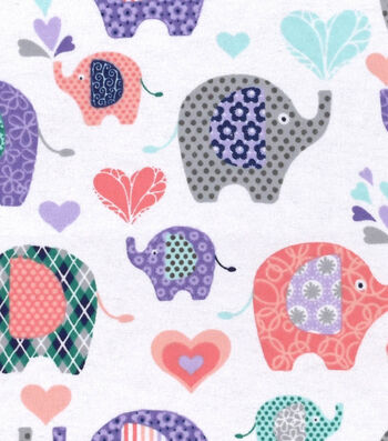 "Snuggle Flannel Fabric 42""-Elephants & Hearts"